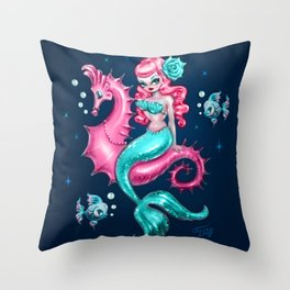 Mysterious Mermaid on Deep Blue Throw Pillow