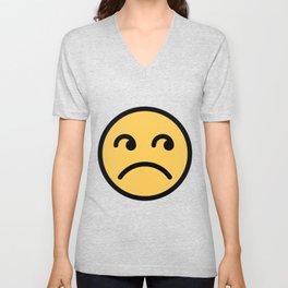 Smiley Face   Annoyed Rolling Eyes   Mouth Sad Unisex V-Neck