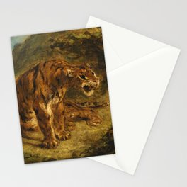 """Eugène Delacroix """"Tiger on the Look-Out or Growling Tiger"""" Stationery Cards"""