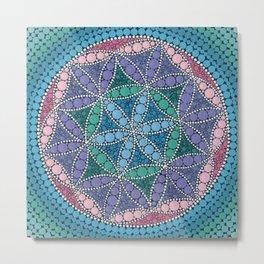 Colorful Dot Art Mandala Flower Of Life Metal Print