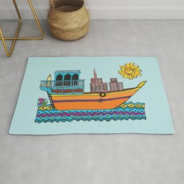 Dhow on the Creek by Dubai Doodles Rug