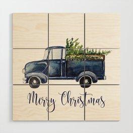 Blue Christmas Truck Wood Wall Art